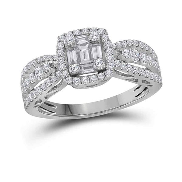 Cluster Bridal Wedding Engagement Ring 3/4 Cttw 18KT White Gold