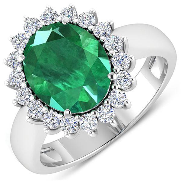 Natural 3.68 CTW Zambian Emerald & Diamond Ring 14K White Gold - REF-157F3N
