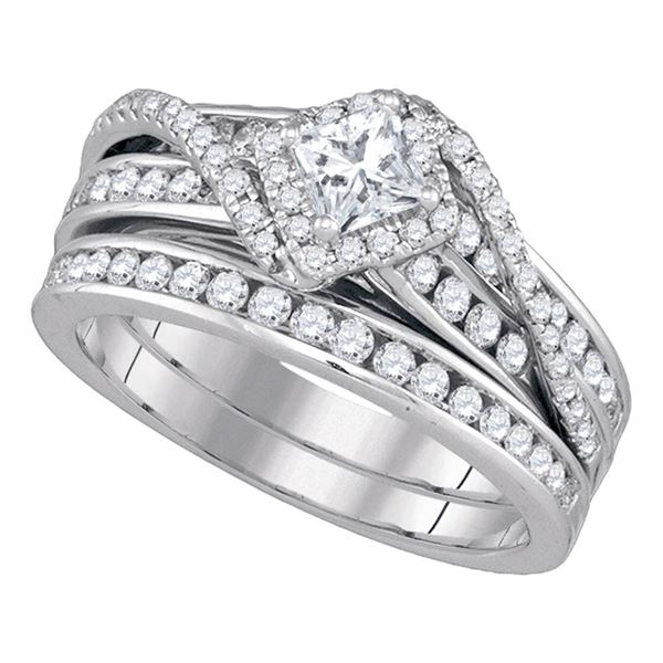 Bridal Wedding Ring Band Set 1-1/4 Cttw 14KT White Gold