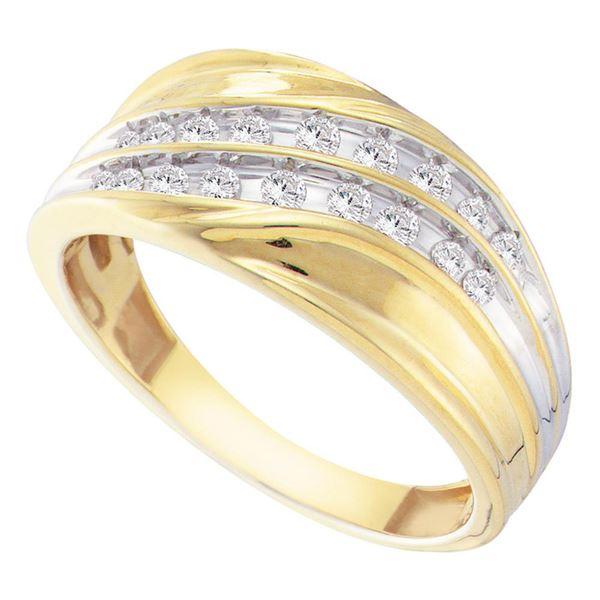 Round Channel-set Diamond Diagonal Double Row Wedding Band 1/3 Cttw 10KT Yellow Gold