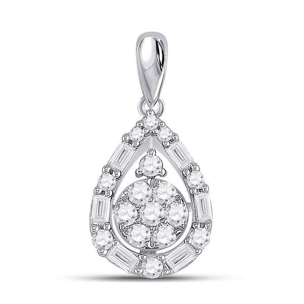 Round Diamond Teardrop Cluster Pendant 1/2 Cttw 14KT White Gold