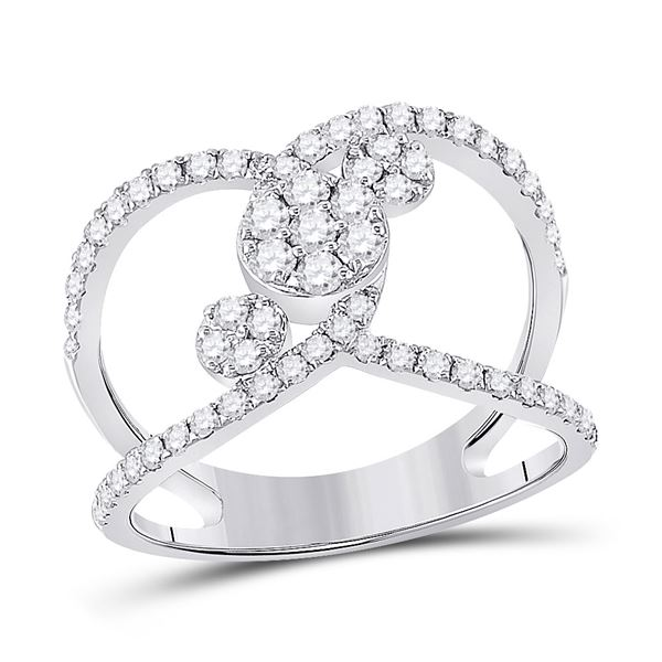 Round Diamond Negative Space Cluster Ring 3/4 Cttw 14KT White Gold