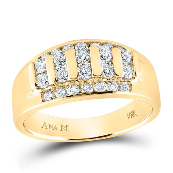 Round Diamond Wedding Channel Set Band Ring 1 Cttw 14KT Yellow Gold