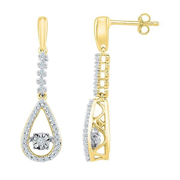 Round Diamond Moving Twinkle Teardrop Dangle Earrings 1/5 Cttw 10KT Yellow Gold