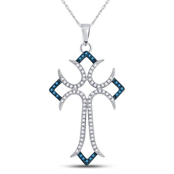 Round Blue Color Enhanced Diamond Flared Cross Pendant 1/4 Cttw 10KT White Gold