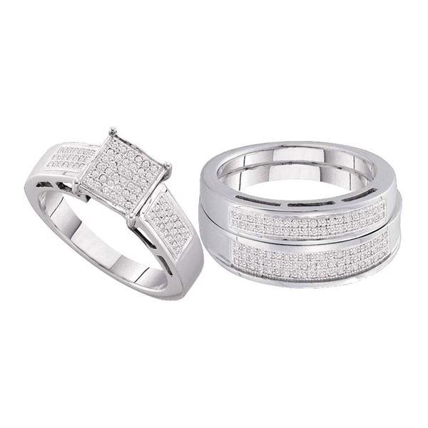 Diamond Cluster Matching Wedding Set 5/8 Cttw 10KT White Gold