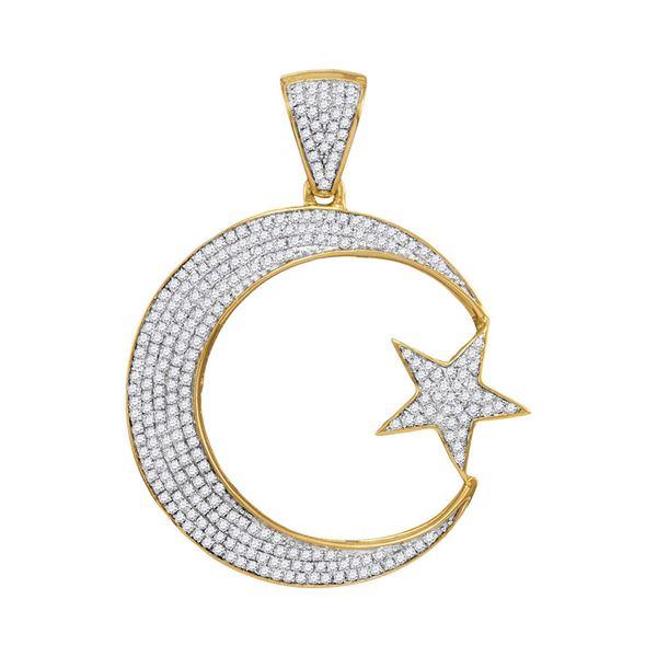 Round Diamond Star & Crescent Charm Pendant 3/4 Cttw 10KT Yellow Gold