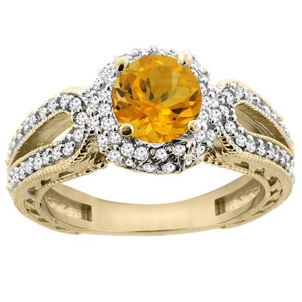 1.25 CTW Citrine & Diamond Ring 14K Yellow Gold - REF-86N7Y