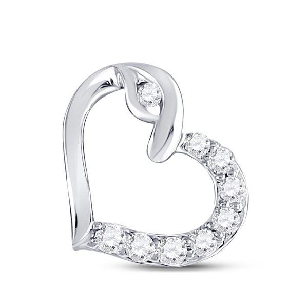 Round Diamond Outline Heart Pendant 1/8 Cttw 10KT White Gold