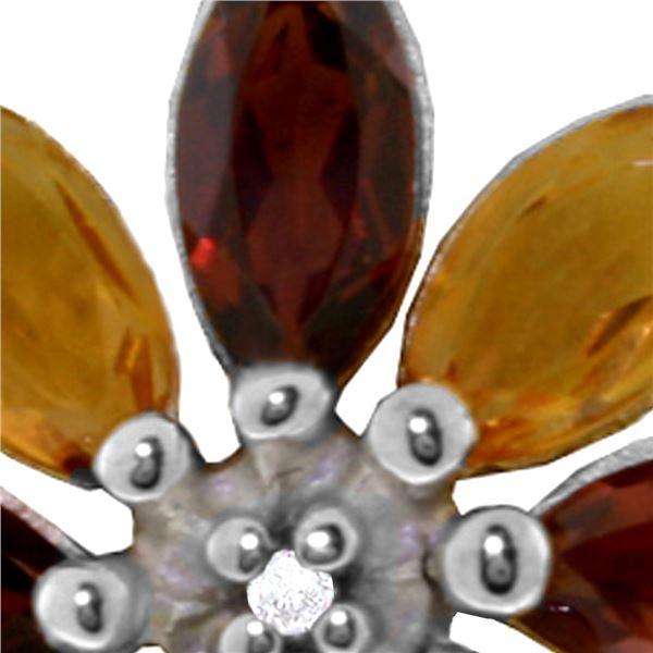 Genuine 2.0 ctw Garnet, Citrine & Diamond Necklace 14KT White Gold - REF-47Z4N