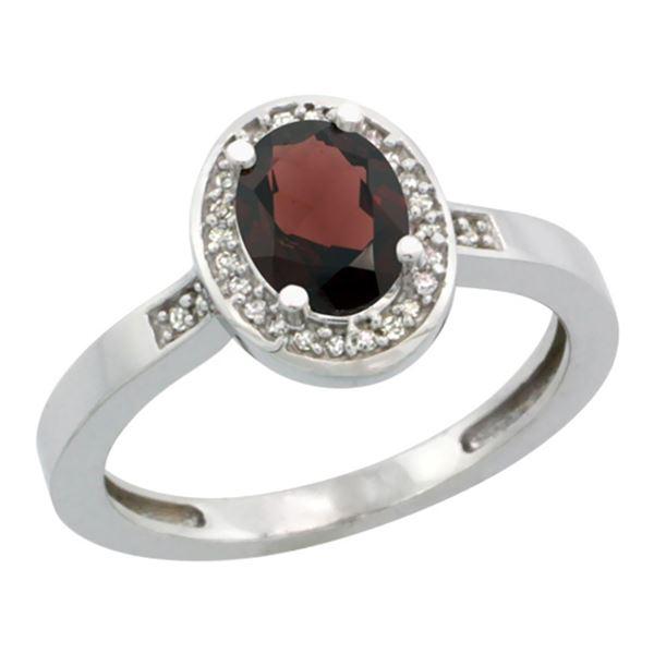 1.15 CTW Garnet & Diamond Ring 14K White Gold - REF-37W9F