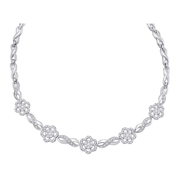 Round Diamond Infinity Flower Cluster Necklace 2 Cttw 14KT White Gold