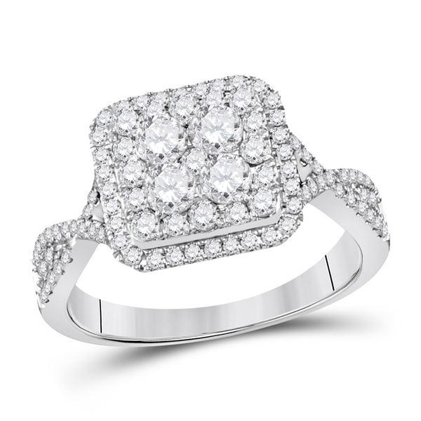 Diamond Cluster Bridal Wedding Engagement Ring 1 Cttw 14KT White Gold