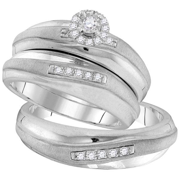 Diamond Solitaire Matching Wedding Set 1/5 Cttw 10KT White Gold