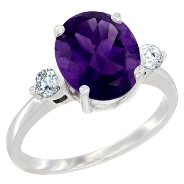 2.60 CTW Amethyst & Diamond Ring 14K White Gold - REF-68M6K