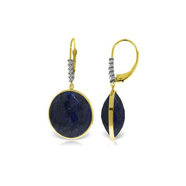 Genuine 46.15 ctw Sapphire & Diamond Earrings 14KT Yellow Gold - REF-78W3Y