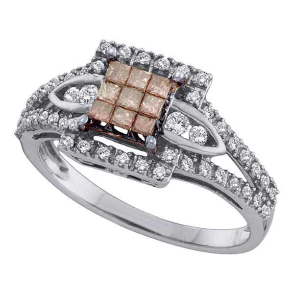 Princess Brown Diamond Square Cluster Ring 1/2 Cttw 14KT White Gold