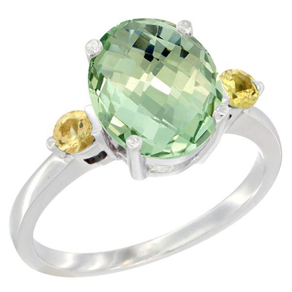 2.64 CTW Amethyst & Yellow Sapphire Ring 14K White Gold - REF-32Y3V