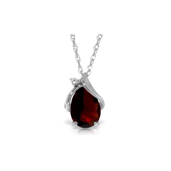 Genuine 2.03 ctw Garnet & Diamond Necklace 14KT White Gold - REF-30T5A