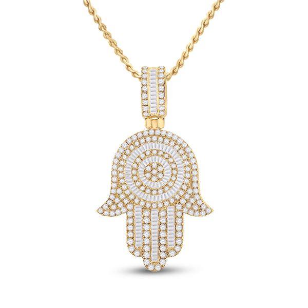 Baguette Diamond Hamsa Hand Charm Pendant 3 Cttw 14KT Yellow Gold