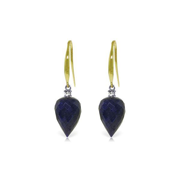 Genuine 25.9 ctw Sapphire & Diamond Earrings 14KT Yellow Gold - REF-42Z9N