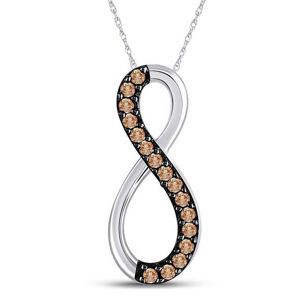 Round Brown Diamond Infinity Pendant 1/10 Cttw 10KT White Gold