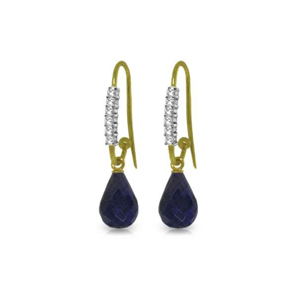 Genuine 17.78 ctw Sapphire & Diamond Earrings 14KT Yellow Gold - REF-47H5X