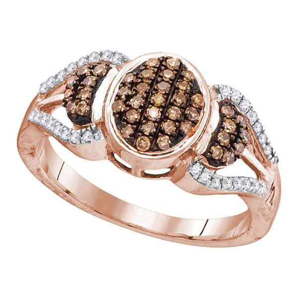Round Brown Diamond Oval Cluster Ring 1/3 Cttw 10KT Rose Gold