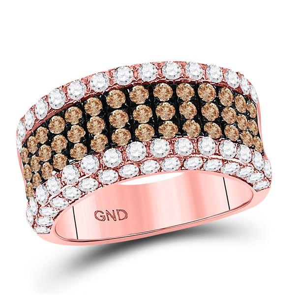 Round Brown Diamond Cocktail Anniversary Ring 2-3/8 Cttw 14KT Rose Gold