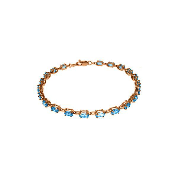 Genuine 5.5 ctw Blue Topaz Bracelet 14KT Rose Gold - REF-96V4W