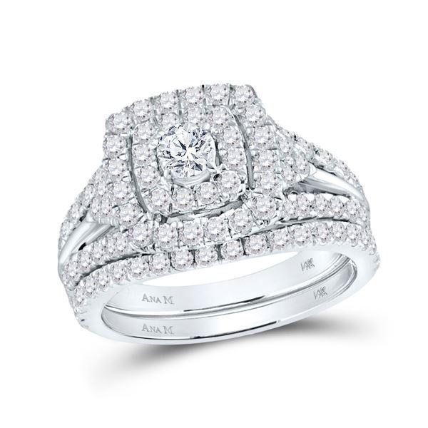 Diamond Halo Bridal Wedding Ring Band Set 1-7/8 Cttw 14KT White Gold
