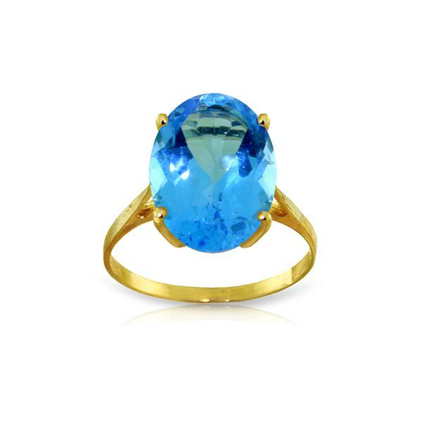 Genuine 8 ctw Blue Topaz Ring 14KT Yellow Gold - REF-46M2T