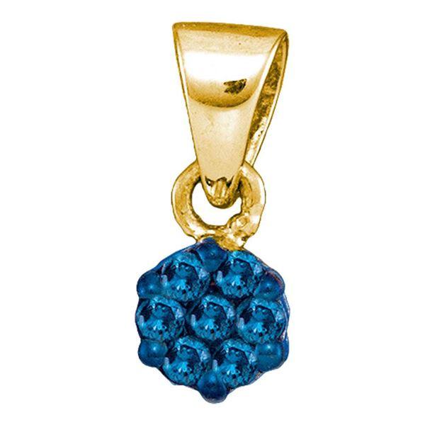 Round Blue Color Enhanced Diamond Cluster Pendant 1/10 Cttw 10KT Yellow Gold