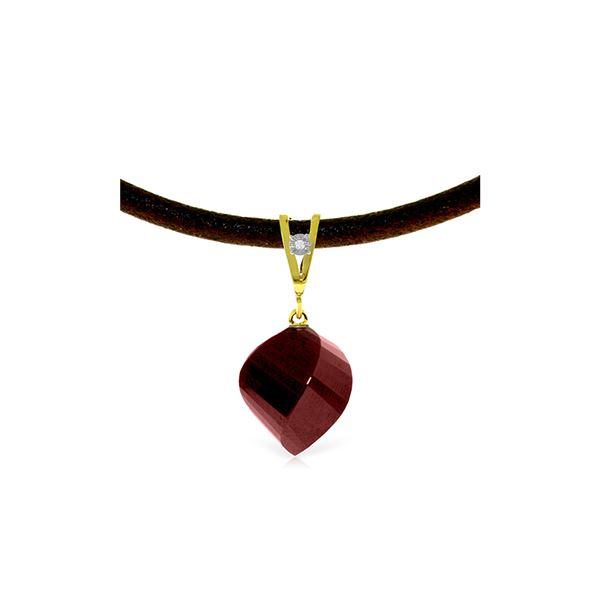 Genuine 15.26 ctw Ruby & Diamond Necklace 14KT Yellow Gold - REF-49K8V