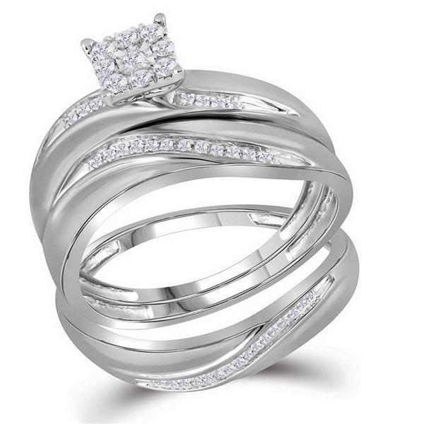Diamond Cluster Matching Wedding Set 1/5 Cttw 10KT White Gold