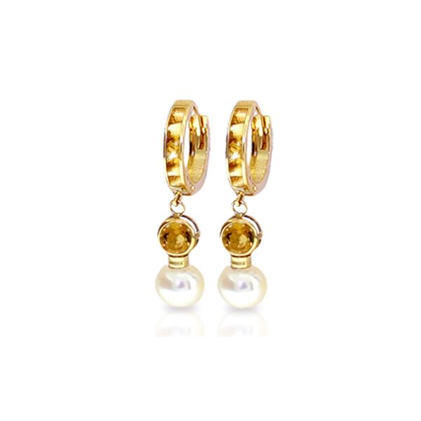 Genuine 6.15 ctw Citrine & Pearl Earrings 14KT Yellow Gold - REF-47H6X