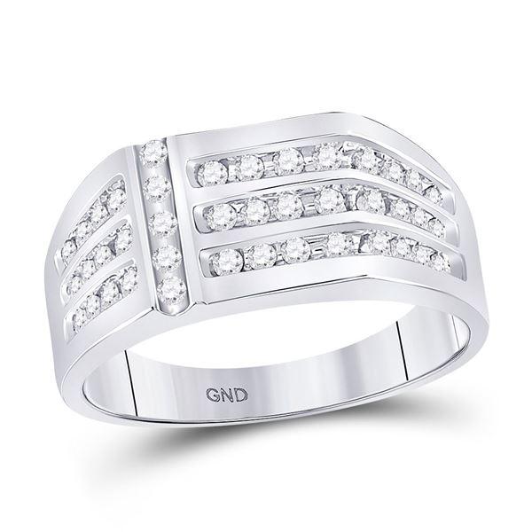 Round Diamond Triple Row Fashion Ring 1/2 Cttw 14KT White Gold