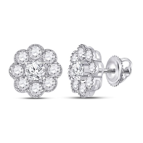 Round Diamond Flower Cluster Earrings 2 Cttw 14KT White Gold