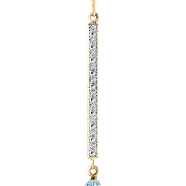 Genuine 1.80 ctw Aquamarine & Diamond Necklace 14KT White Gold - REF-35Y4F