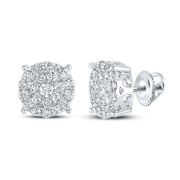 Round Diamond Cluster Earrings 2 Cttw 10KT White Gold