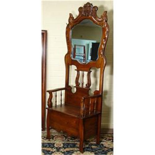 Walnut Antique Victorian Mirror Hall Tree Bench1932884