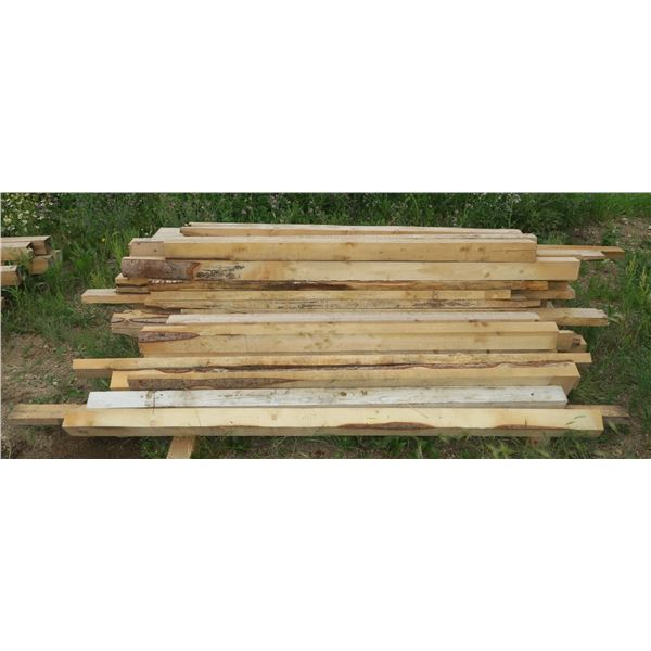 """Lot of Rough Cut Lumber, Misc. Sizes & Lengths From ~100"""" Down"""