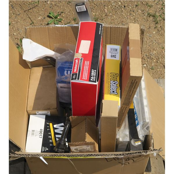 Box of Misc. Air Filters + Etc.