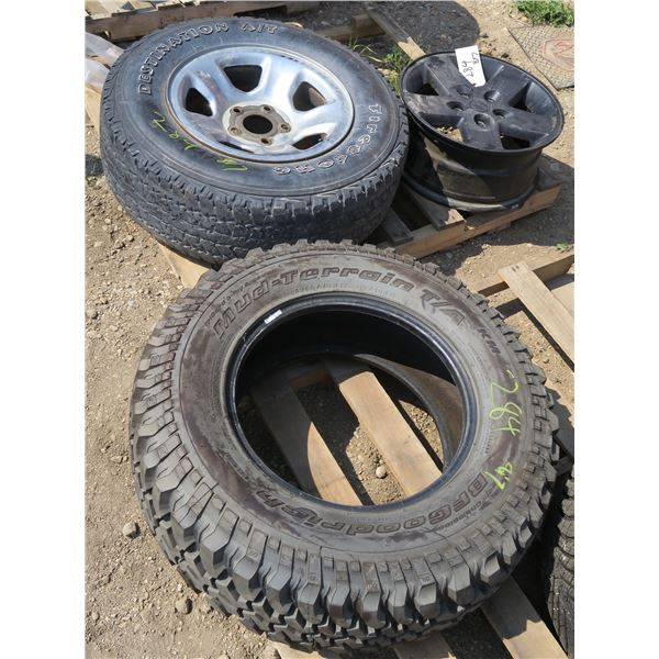Lot of 3 Tires/ Rims: Jeep Rim, Tire+rim 265/70/17, 255/75/17