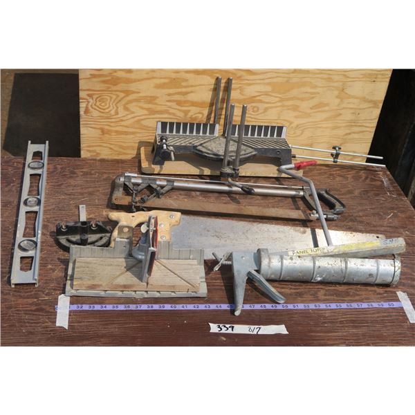 Lot of Misc. Tools: Saw, Caulking Gun, Drywall Lifter