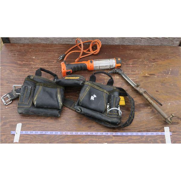 Dewalt Tool Belt & Contents, Welding Torch, Shop Light