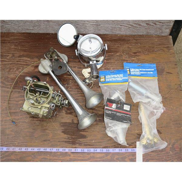 Lot of misc. Parts: Carburetor, Horns, Spotlight, etc.