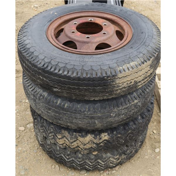 Lot of 4 Tires/Wheels (700-16, 6 ply + 32×8.8, 12 Ply)