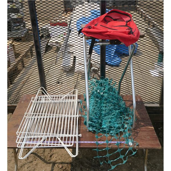 Lot of Cage/Fence, Fence Mesh, Small Folding Table, Backpack
