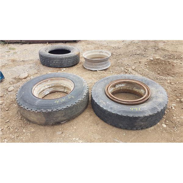 3 Heavy Truck Tires (2 On Rims) & 1 Heavy Truck Rim